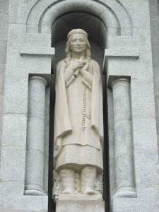 A statue of Kateri Tekakwitha, the first Native American to be certified a saint by the Catholic Church, at the Basilica of Sainte-Anne-de-Beaupré, near Quebec City.