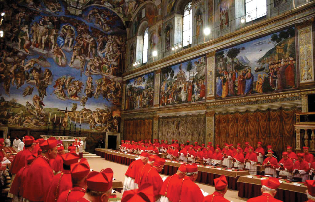 Cardinals pray before the beginning of the conclave in which Cardinal ...