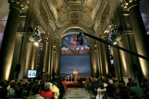 A moment of biblical reading, La Bibbia giorno e notte (The Bible day and night) held in the Roman Church Santa Croce in Gerusalemme in 2008.