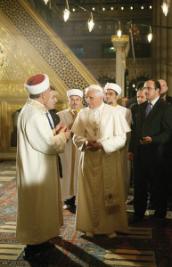 Pope Benedict XVI visits the Blue Mosque in Istanbul, Turkey, during the Apostolic Journey to Turkey (Nov. 28-Dec. 1, 2006).