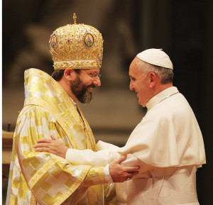 Pope Francis embraces Archbishop Shevchuk during the Divine Liturgy of St. John Chrysostom in St. Peter's Basilica in November 2013.