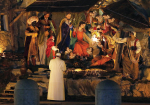December 31, 2013, St. Peter's Square, Vigil of the Solemnity of Mary Most Holy, Mother of God. After the Te Deum of thanksgiving for the past year, Pope Francis went to visit the Manger Scene in the Square. The Holy Father prayed before the representation of the birth of Jesus (Galazka photo)