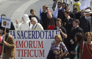 American Cardinal Raymond L. Burke marches with pro-life demonstrators during the third annual national March for Life in Rome May 12, 2013.