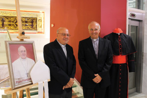 Papal Secretary Msgr Alfred Xuereb and Msgr. Joseph Farrugia on the occasion of Pope Francis' Donation to the Maltese Museum in Gozo.
