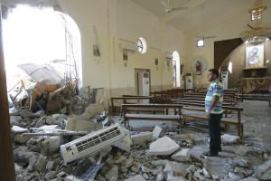 A church near Bagdad, Iraq, destroyed by a bomb.
