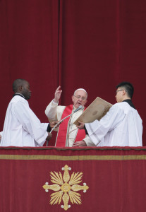 """Pope Francis delivers his Christmas blessing """"urbi et orbi"""" (to the city and to the world) on December 25."""