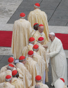 Pope Francis greets cardinals during the Mass marking the closing of the Year of Faith in St. Peter's Square on November 24,  the Solemnity of Christ the King.
