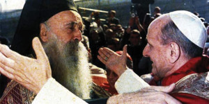 Pope Paul VI meets  Athenagoras I, Patriarch of Constantinople, in Jerusalem on January 5, 1964.