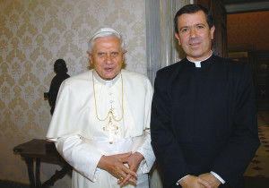 Pope Benedict XVI with Father Alvaro Corcuera, director general of the Legionaries of Chirst and its lay association, Regnum Christi, at the Vatican in June 16, 2006 file photo.