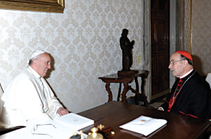May 2013: Pope Francis meets Cardinal de paolis to discuss the matters of the legionaries.