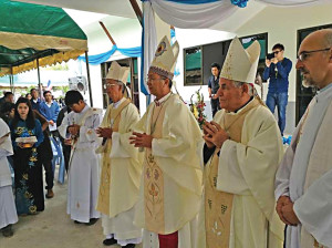 Bishop Antonio Mattiazzo, the second from right, during the inauguration of the Benedectine monastery in Thailand.