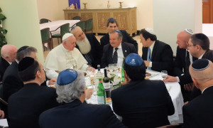 The group of Argentinian Jews eating lunch with Pope Francis in The Domus Sanctae Marthae, where the Pope lives, on January 16.