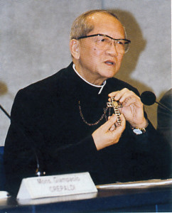 "The cardinal during a press conference: ""They allowed me to cut a piece of wood in the form of a cross. I hid it in a piece of soap. I cut a very, very tiny piece of electric wire... In this cross that I wear, there is the wood and the electric wire from my prison."""