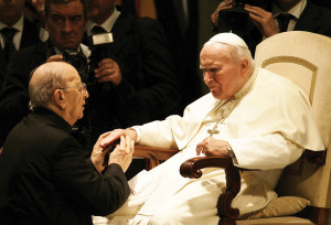 Pope John Paul II receiving in audience father Marcial Maciel Degollado, founder of the Legionaries of Christ, at the Vatican 2004.