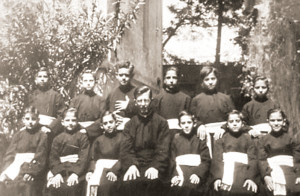 Father Marcial Maciel Degollado as a young seminarian in Januray 1941, in Mexico City, with twelve of his first followers gathered around him.