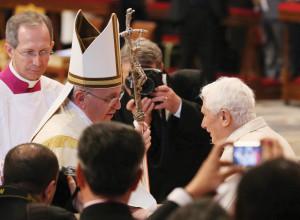 Pope Francis and Pope Emeritus Benedict.
