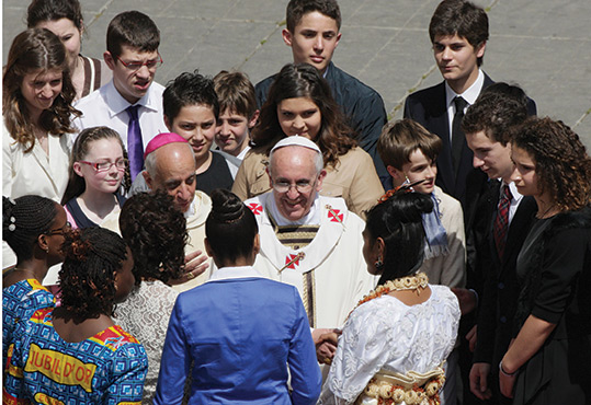 April 28, 2013. St. Peter's Square. Pope Francis celebrates Mass and confers the sacrament of confirmation on 44 individuals.