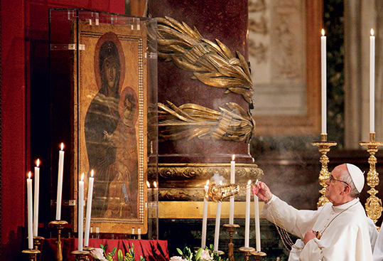 "May 4, 2013. Rome, Basilica of Santa Maria Maggiore (St. Mary Major). Pope Francis leads the recitation of the Rosary in front of the icon of Mary ""Salus Populi Romani"" (""Protection of the Roman People"")."