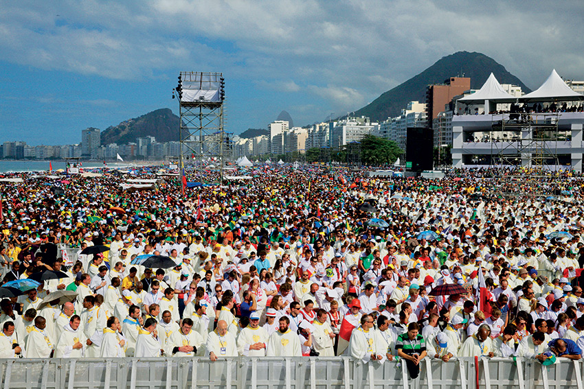 July 28, 2013. Rio de Janeiro, Brazil. The first Apostolic Journey of Pope Francis outside of Italy was on the occasion of the 28th World Youth Day. Francis celebrated Holy Mass in the presence of c. 3 million young people on Copacabana beach.