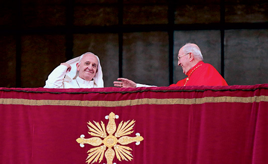 April 7, 2013. Rome, Divine Mercy Sunday. The Pope takes possession of the Basilica of St. John Lateran and then greets the crowd from the balcony of the basilica, along with Cardinal Agostino Vallini, his vicar for Rome.