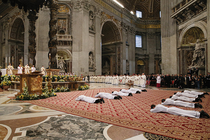 April 21, 3013, St. Peter's Basilica. Pope Francis celebrates Mass and ordains 10 new priests for the diocese of Rome.