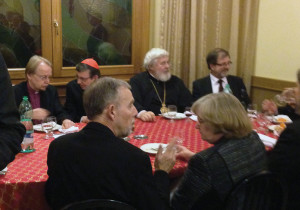 At dinner, Cardinal Kurt Koch was present throughout.