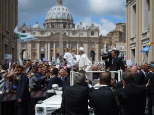 The Holy Father meets the participants in the annual March for Life in Rome on May 12, 2013.