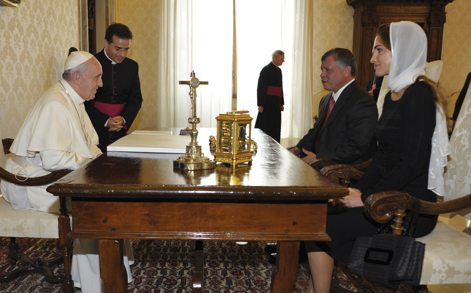 August 29, 2013. In the Pope's Private Library, in the Vatican. Pope Francis received His Majesty Abd Allah II Ibn Husayn, King of Jordan, with his wife.