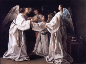 St. Raymong Nonnatus Being Fed by Angels by Eugenio Caxés, 1630.