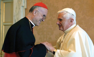 Pope Benedict chose Italian Cardinal Tarcisio Bertone, to be his  Secretary of State in mid-2006, a year after his election. Here, Benedict greets Bertone at the Pope's summer residence in Castel Gandolfo, Italy, on September 15, 2006. Bertone replaced Cardinal Angelo Sodano, who retired from the Secretary of State post after 16 years of service.