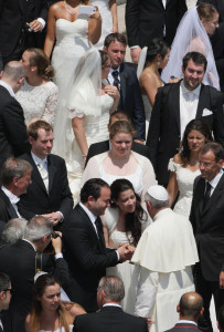 June 26, 2013, St. Peter's Square: Pope Francis meets newlyweds at his General Audience.