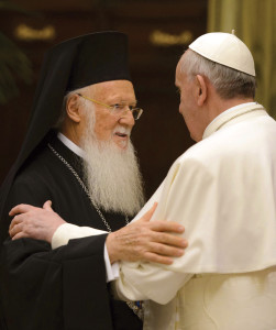 Pope Francis embraces Ecumenical Patricarch Bartholomew of Constantinople, spiritual leader of Orthodox Christians.