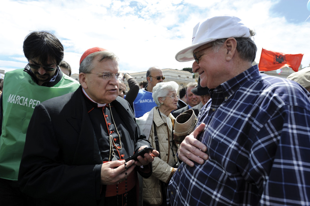 "U.S. Cardinal Raymond Burke, Prefect of the Apostolic Signatura and a former archbishop of St. Louis, during a May 4 pro-life demonstration in St. Peter's Square. Catholic politicians and judges who support laws in conflict with Church teaching on abortion, commit ""sacrilege"" and cause ""grave scandal"" if they receive Communion, the cardinal told an international conference of pro-life organizations on May 3."