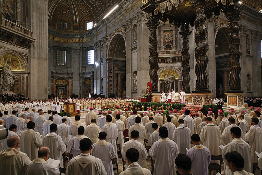 The Chrism Mass is the traditional liturgy during which the oils to be used throughout the coming year in the sacraments of initiation, healing, and Holy Orders are blessed. It is also a particularly profound moment of unity among the clergy of the diocese together with the bishop.