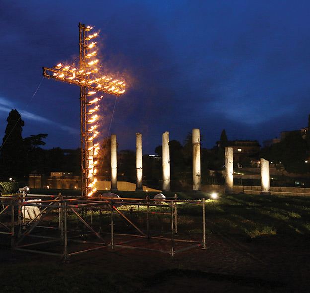 In Rome, Good Friday is celebrated with an evening Stations of the Cross beginning in the Coliseum and ending near the Roman Forum. An enormous cross is lit with torches.