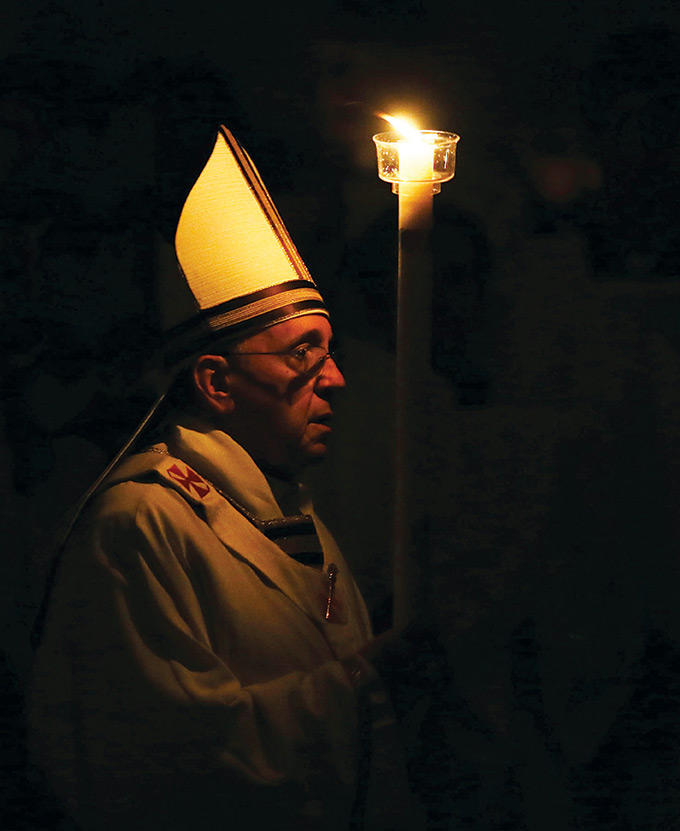 On April 19, Pope Francis celebrated the Easter Vigil Mass. The beginning of the ceremony is the lighting of the Paschal Candle and a procession to the altar with the candle in an entirely dark church.
