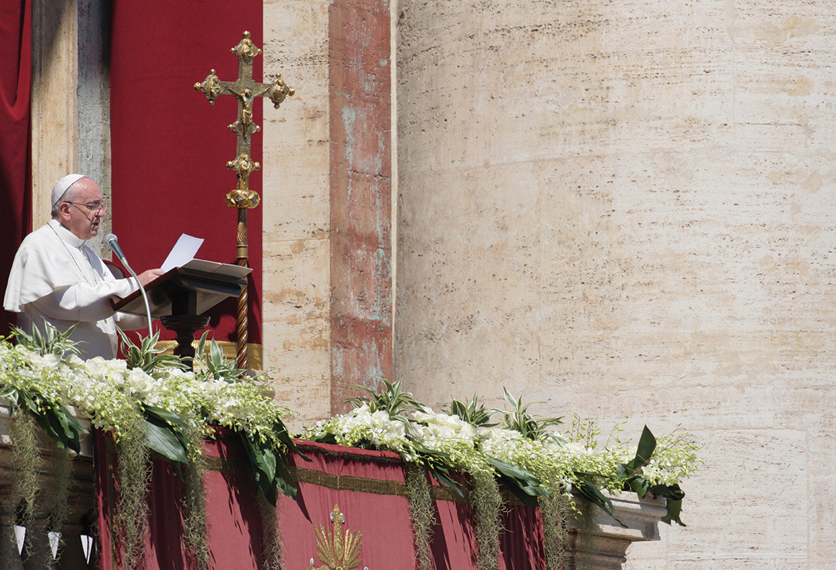 """After Mass, at noon on Easter Sunday, April 20, Pope Francis went up to the Central Loggia of the Vatican Basilica to deliver his Easter message and blessing """"Urbi et Orbi"""" (""""To the City and to the World"""")."""