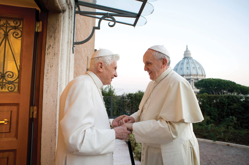 Pope Francis meeting Pope Emeritus Benedict at Benedict's residence in the Vatican Gardens.
