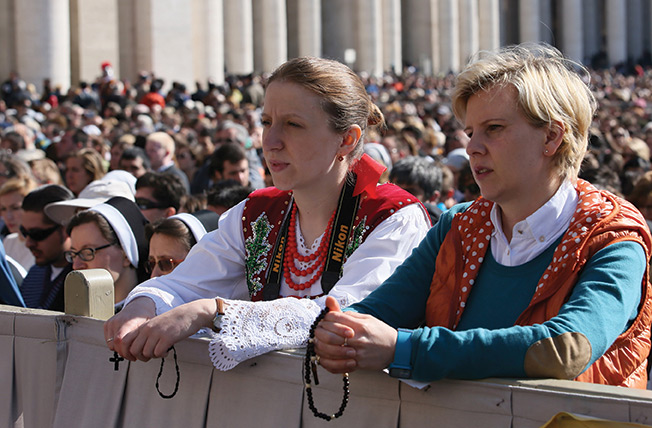 During Mass in Saint Peter's square on Easter Sunday the great square was filled with pilgrims.