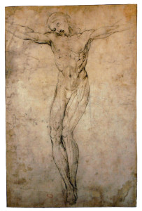 Raphael's study for his drawing of the Crucifixion.