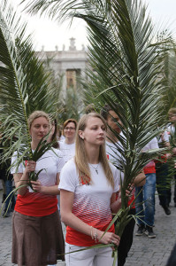 Young Polish women participate in the Palm Sunday ceremony on  April 13, the beginning of Holy Week. They were to remain in Rome until the double canonization two weeks later...