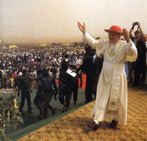 Pope John Paul II during one of his many journeys to Africa.