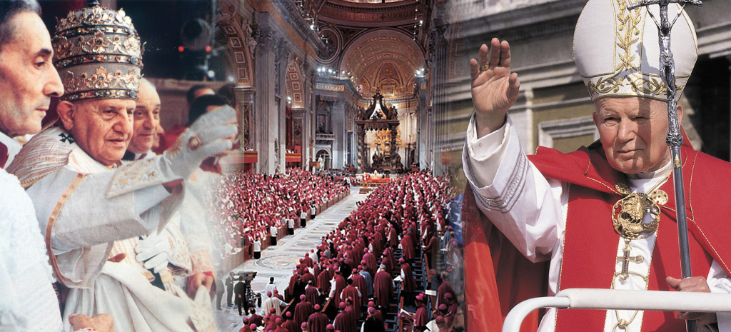 "Top, a photo from the evening of October 11, 1962, when St. Peter's Square was filled to thank Pope John XXIII for convening the Second Vatican Council, which began that morning. Pope John spoke to the crowds, asking them give a ""caress"" to their children when they returned home."