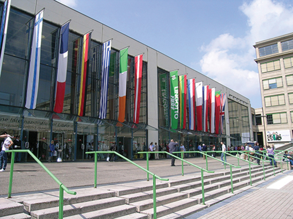 The main entrance to the book fair in Turin.