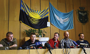 Observers of the Organization for Security and Cooperation in Europe (OSCE) held hostage in eastern Ukraine by pro-Russian groups at the end of April. They were released in early May.