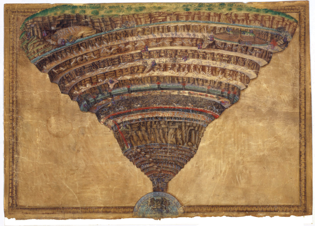 An illustration from Dante's Divine Comedy by the artist Sandro Botticelli in the XVth century and recently digitalized.