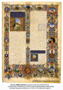 The magnificently illuminated Urbino Bible, commissioned by the bibliophile Duke of Montefeltro.