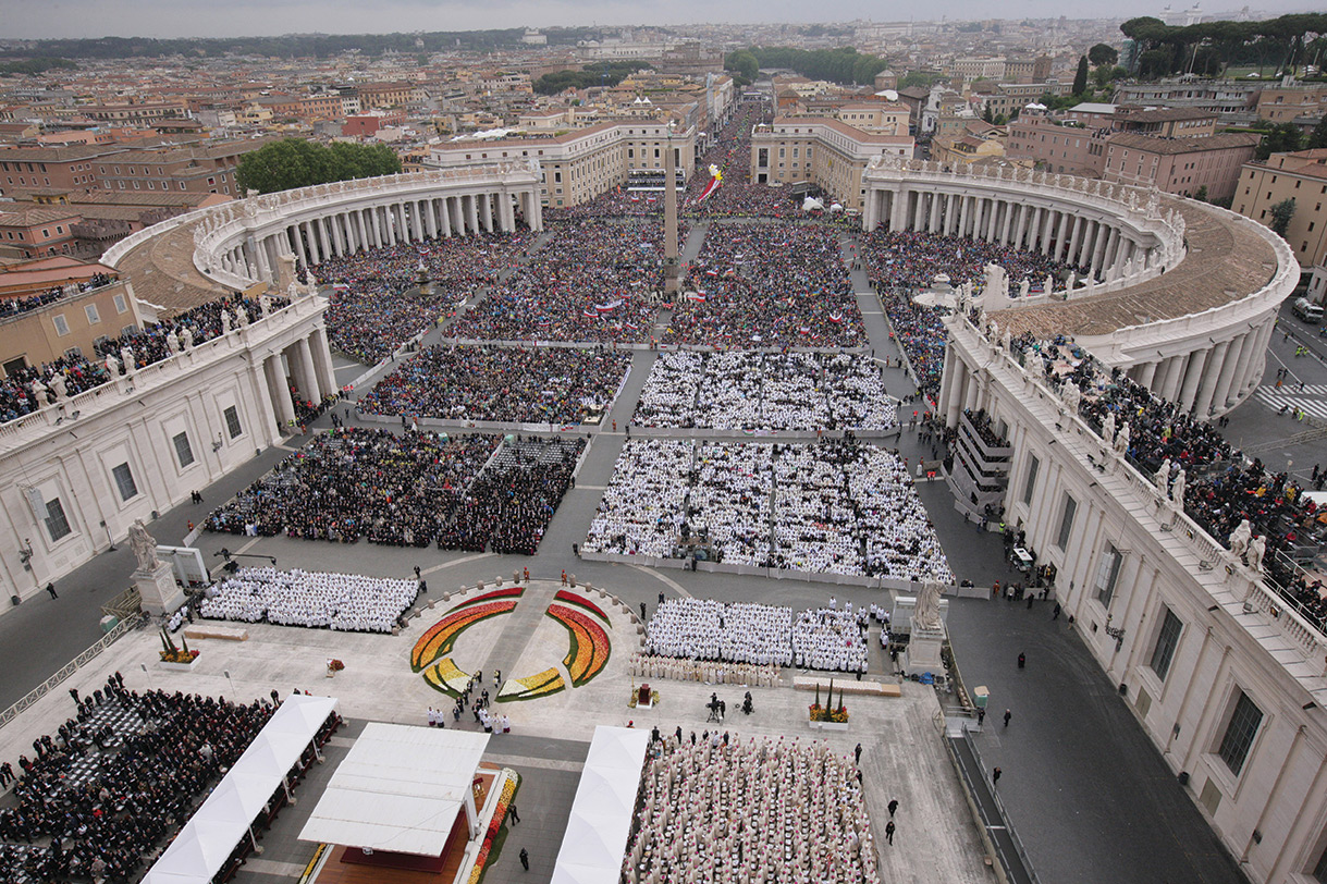 St. Peter's Square and the Via della Conciliazione, as well as streets and bridges even further away were filled with about 1 million pilgrims who wished to be present at the Mass of Canonization of the two saints. It was a cool, slightly overcast day with a light breeze.