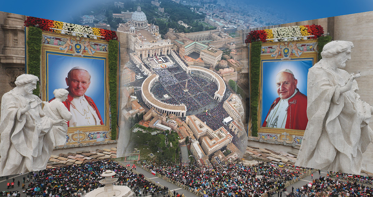 The images of the two new saints hanging from the balconies of St. Peter's Basilica (the image of John Paul was a 1989 photo by our photographer Grzegorz Galazka) and an aerial photo of the vast crowd during the April 27 Mass.