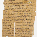 Here, Bodmer Papyrus XXIV, Page 24 (K), late 3rd – early 4th century. Bottom, miniature depicting St. Mark the Evangelist and the Baptism of Christ opening the Gospel of Mark, Four Gospels with Kephalaia, in Greek, copied by Manuel Hagiostephanites for John of Crete, archbishop of Cyprus, dated 1156 (Ardon Bar Hama photo).